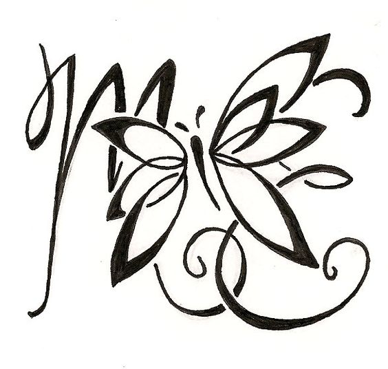 custom lettering tattoo design for a mom kids initials with butterfly ginaleecincotta. Black Bedroom Furniture Sets. Home Design Ideas