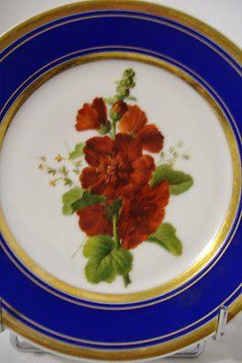 """Splendide Assiette Porcelaine Botanique """"Rose Tremiere"""" - 1850 - Faire Offre !!"""