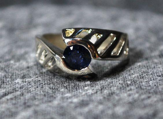 Sapphire Genuine Upcycled Gemstone Sterling Silver September Birthstone by jewelrybymatt on Etsy