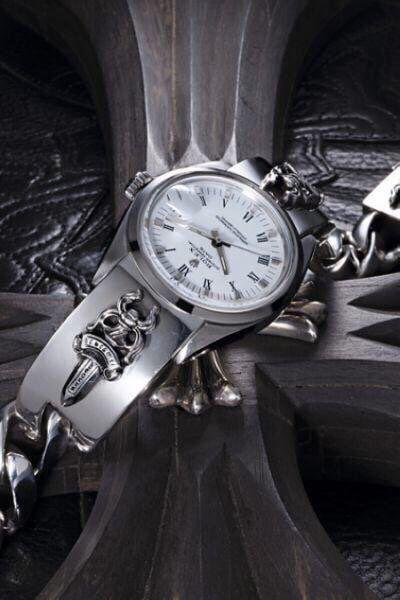 Rolex x Chrome Hearts Dagger Sterling Silver Bracelet (white face)