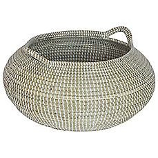 image of 17-Inch x 9-Inch Seagrass Basket in White Wash Finish