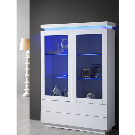 Lenovo Display Cabinet In White High Gloss With LED LightingIt has 2 Glass Door And 2 Drawers At Bottom Finish: White High Gloss Features:•Lenovo Display Cabinet In White High Gloss With LED L...