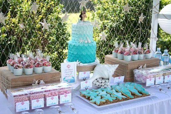 déco anniversaire enfant sur le thème sirène - gâteau, biscuits et bonbons