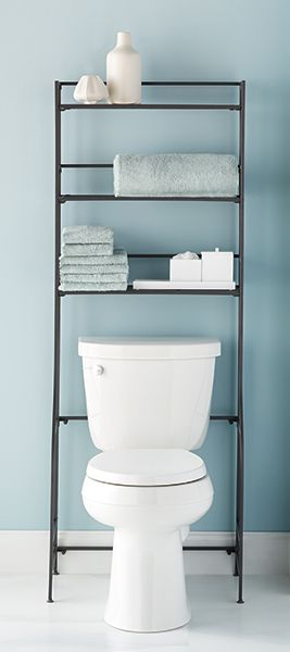 Irons storage spaces and bath on pinterest for Small bathroom etagere