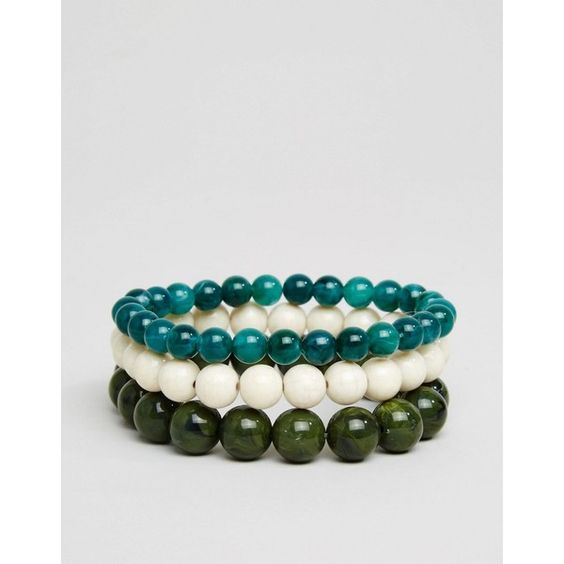 ASOS Beaded Bracelet Pack With Turquoise ($10) ❤ liked on Polyvore featuring men's fashion, men's jewelry, men's bracelets, multi, mens bead bracelets and mens turquoise bracelets