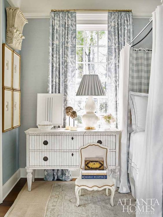 Inside a Swedish furniture-filled bedroom, inspired by Pauline de Rothschild, designed by Tristan Harstan for the Southeastern Showhouse.