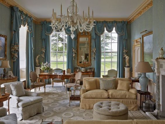 Blue Drawing Room Cornbury Park with the beautiful blue drapery by legendary Interior Decorator John Fowler. Featuring Swags and ruffled jobots