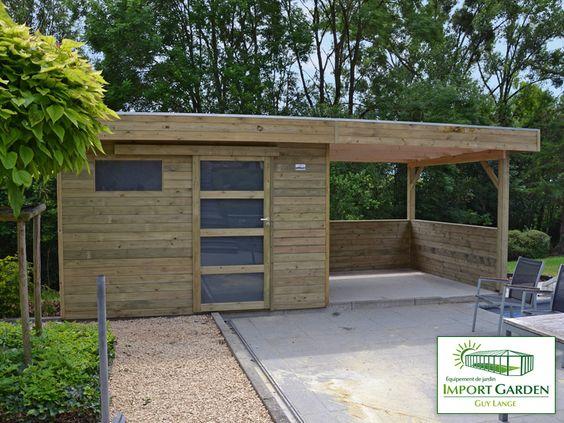 abri de jardin a toit plat avec auvent terrasse shed. Black Bedroom Furniture Sets. Home Design Ideas