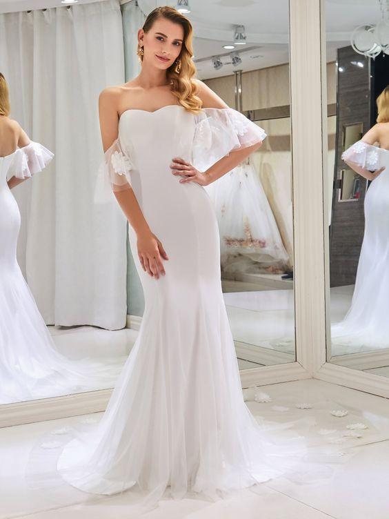 Off the Shoulder Flowers Mermaid Wedding Dress