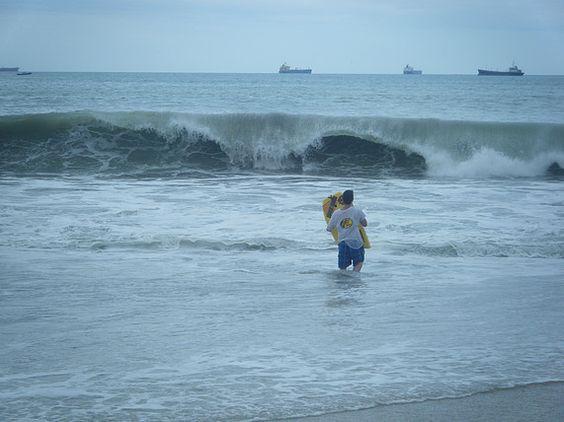 Body Surfing on Cautivo Beach.  South coast of Ecuador