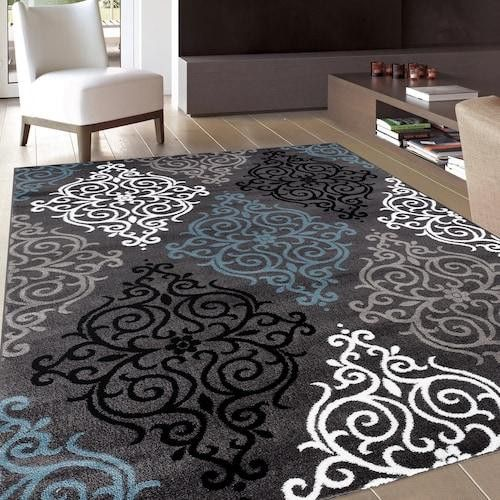 Navy Blue Rugs for Modern Home Decor Cheap Large Small Grey Soft Rug NEW Runners