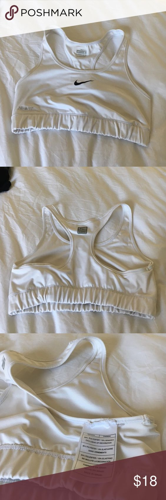 Nike sports bra in white In great condition. Small stain as pictured on band-probably removable with washing. Nike Intimates & Sleepwear Bras
