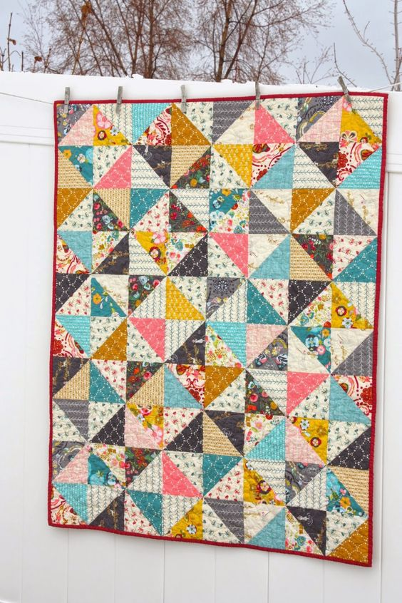Emmy Grace baby quilt | Triangle quilts, Grace o'malley ...