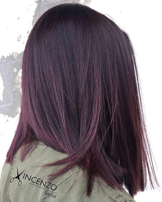 Dark Purple Shoulder Length Straight Hair Styles Brunette Hair Color Hair Color Balayage