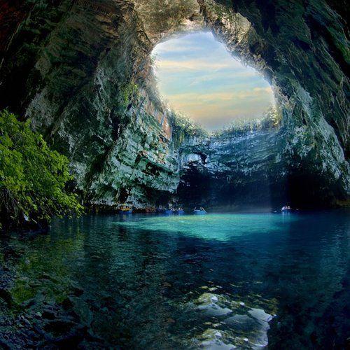 wanna just jump & swim there.. it's Melissani Cave Kefalonia, Greece