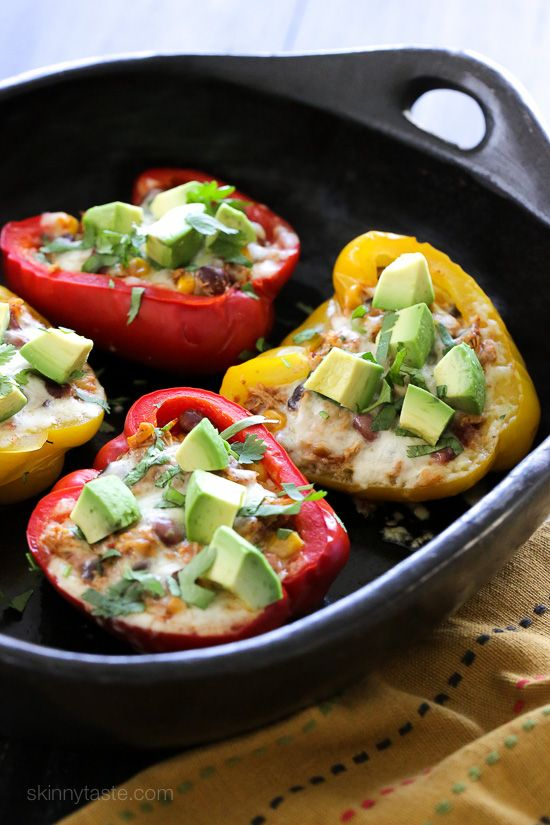 Chicken Taco Chili Stuffed Peppers – bell peppers stuffed with my ever-so-popular Crock Pot Chicken Taco Chili and topped with cheese – easy and SO good!