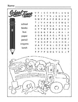 Back to School Word Search Puzzle / 1st Grade | Pinterest ...