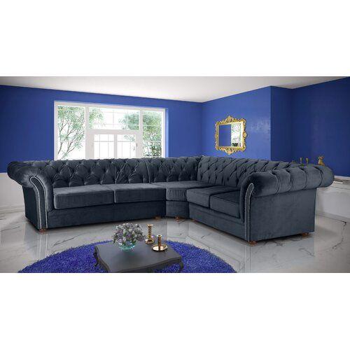 Judith Modular Corner Sofa Willa Arlo Interiors Upholstery Colour Navy Blue In 2020 Modular Corner Sofa Corner Sofa Sofa