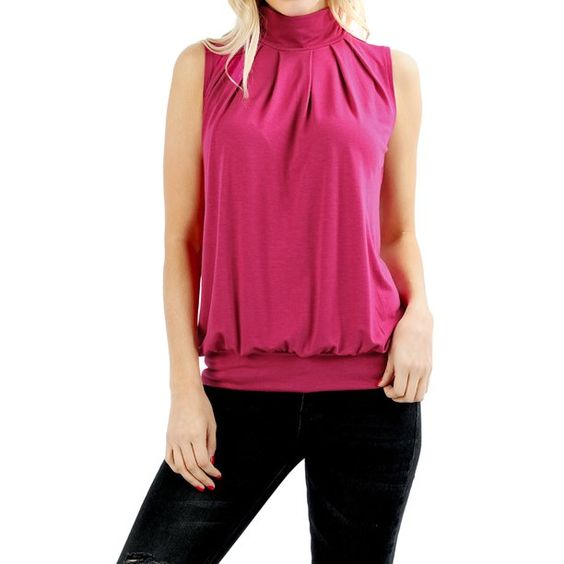 Zenana - Women & Plus Sleeveless Mock-TurtleNeck Pleated Top with Waistband (Magenta, S) - Walmart.com - Walmart.com