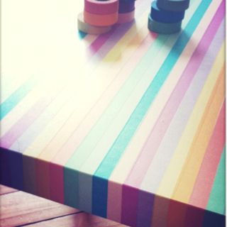 Lack table covered in Japanese washi tape. - like this but on a picture frame