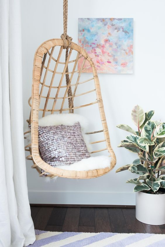 Rattan Hanging Chair -Tween-to-Teen Bedroom Makeover-100% virtually designed online by @decorist