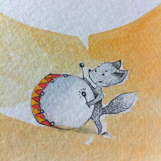 détail - carte postale des vacances en fanfare ! watercolor postcard