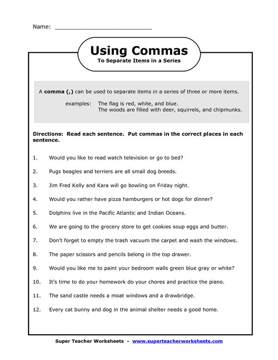 Commas in a series and Worksheets on Pinterest