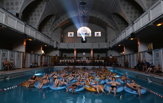 The screening of the Jaws by director Steven Spielberg at Strasbourg public baths during the European Fantastic Film Festival