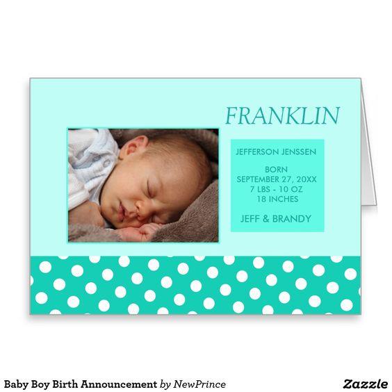 Baby Boy Birth Announcement Greeting Card