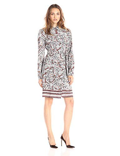Border printed shirt dress in a washed CDC fabric that has some stretch