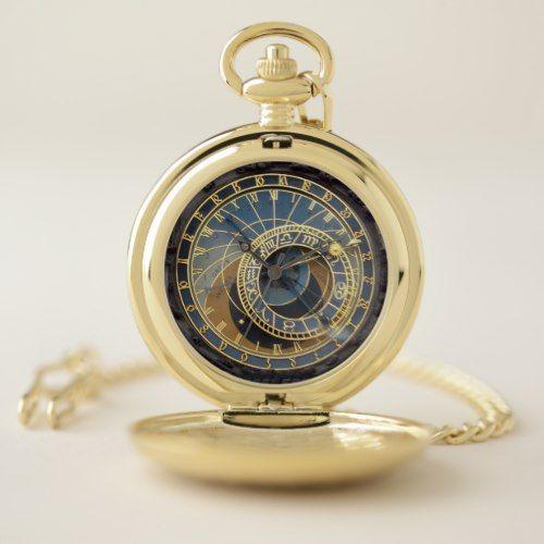 Prague Astronomical Clock Pocket Watch Zazzle Com Pocket Watch