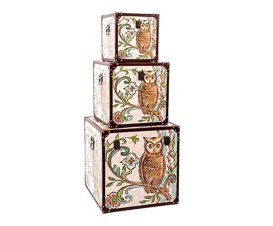 Set de 3 cajas en madera Búho