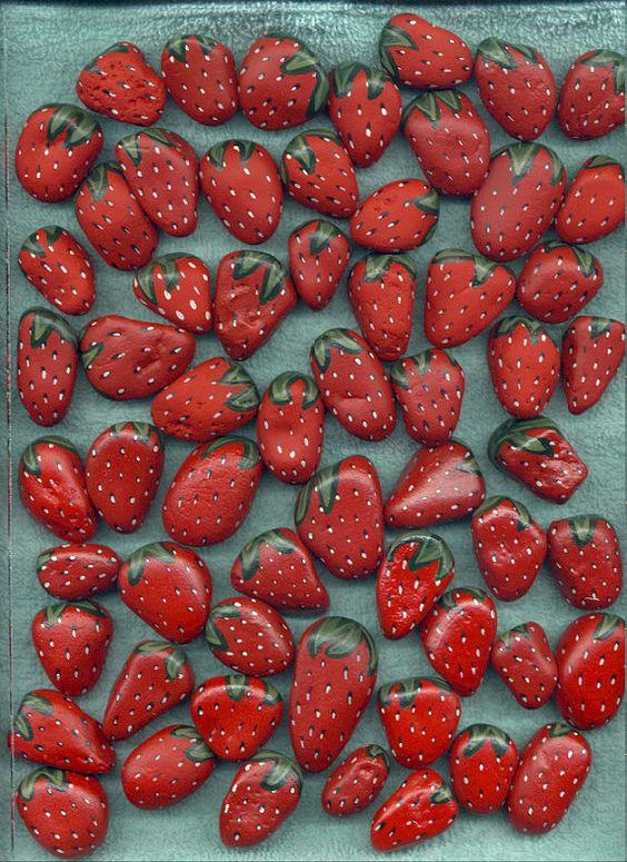 Painted - Strawberry rocks!