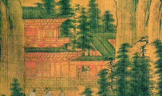 辽 山弈候约图 出土于叶茂台辽初墓 创作时间大约在五代以前,画面依然是典型唐式建筑