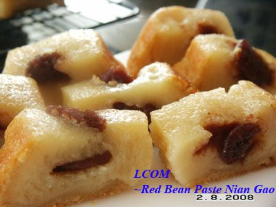 Nian Gao Steamed Cake with Red Bean paste | Asian food ...