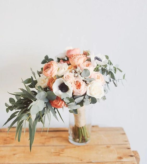 Sage, peach and blush bouquet