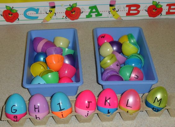 Match the uppercase tops with the lowercase bottoms and place in abc order in the cartons.