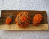 Orange Crochet Covered Beach Stones .,summer .home decor ,decoration