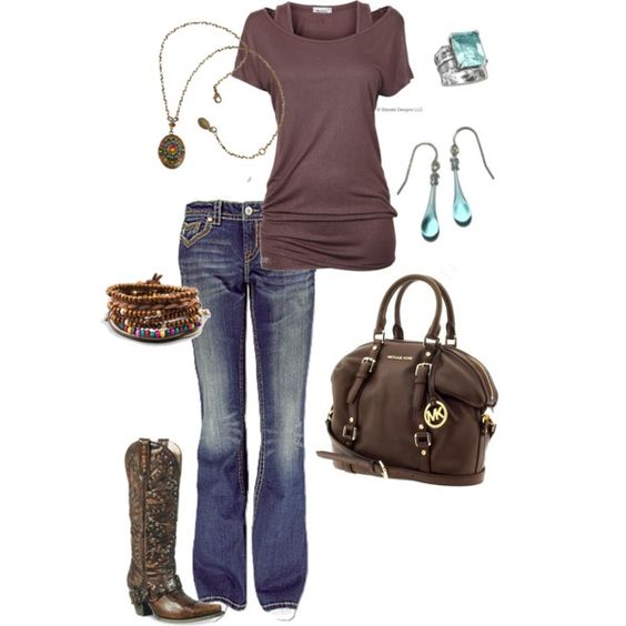 Chocolate and more chocolate! I bet we all have something similar to this look. I love the boots; I don't have the boots....but I think I can come close to creating this in my closet!: Blue Everyday, Dream Created, Cowboy Boots, Country Girl, Dream Closet, Mocha Dream, Cute Outfits, Brown Blue