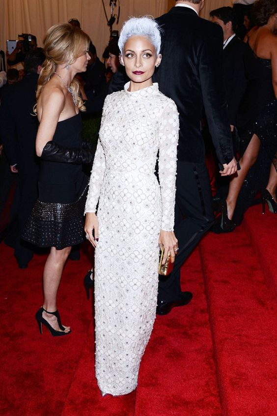 Nicole Richie, Topshop white column dress.