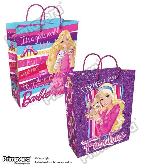Bolsa Regalo Barbie http://envoltura.papelesprimavera.com/product/bolsa-regalo-personajes-barbie-2/