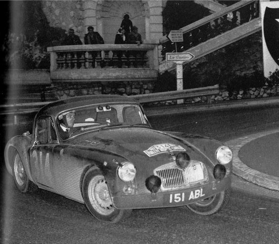151 ABL . MGA works prepared car for the 1962 Monte Carlo Rally , driven by the Morley twins , started from Oslo , Retired .: