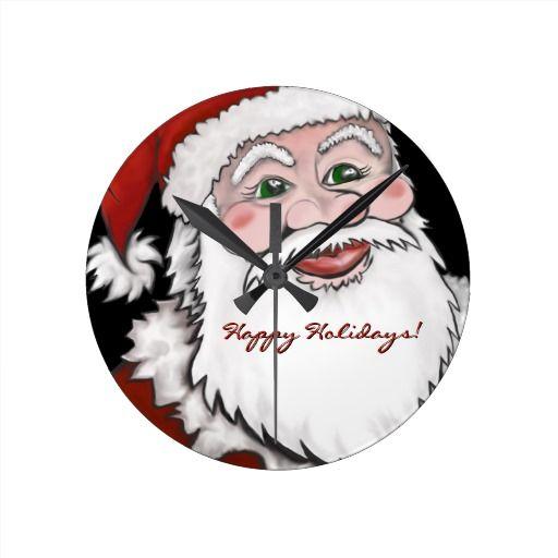 Santa Claus Customizable Happy Holidays Wall Clock  #wallclock #clock #santa #santaclock #santaclausclock #christmasclock #santaclauswallclock #christmaswallclock #christmasdecor