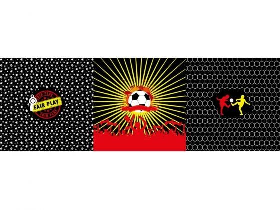 Cotton jersey Malomi football Panel black, red, yellow (48 x 150 cm)