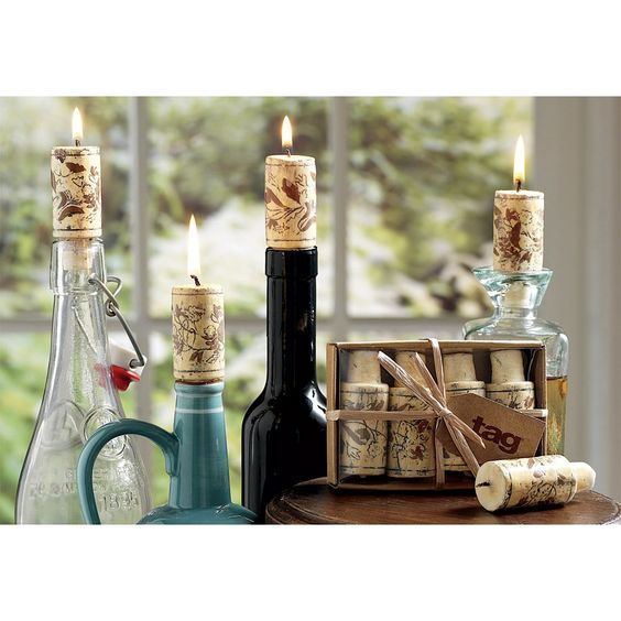 Wine Cork Candles, Set of 4