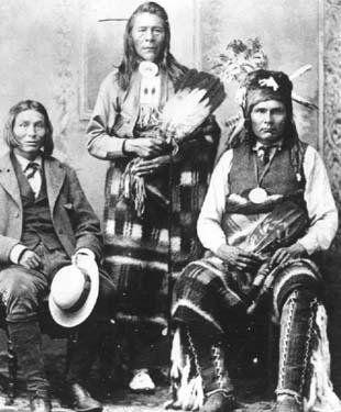 L-R: Jonas Goodstoney (Assiniboine), Samson (Cree), James Seenum (Cree) - 1886