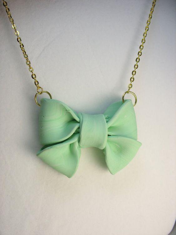 Bow necklace  big seafoam polymer clay bow by lennonsleadinglady, $14.00