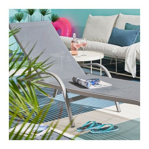 Ikea Torholmen Gray Chaise Sun Lounger Cushions Outdoor Seat