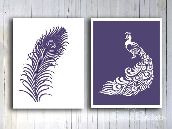 Home Living Decor Peacock Art print Feather Wall decor Modern bathroom Wall art Dark purple Gift for Teen girls bedroom Clean simple print on Etsy, $17.00