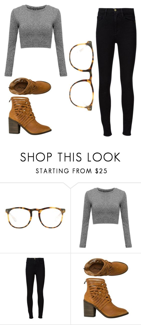 """Untitled #280"" by gigglesanddimples ❤ liked on Polyvore featuring Linda Farrow, Frame Denim and Free People"
